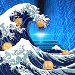 """The Great Floating Point Wave"" in homage to Hokusai's ""The Great Wave Off Kanagawa"""